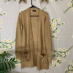 Gold sparkly metallic long cardigan duster